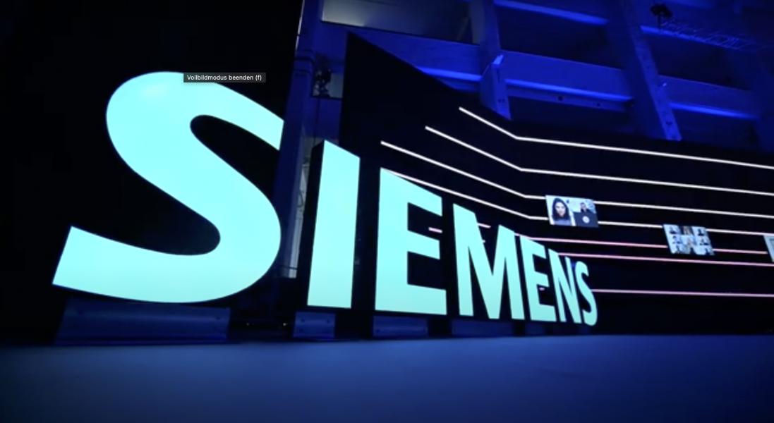 Das Siemens Logo als Lichtelement