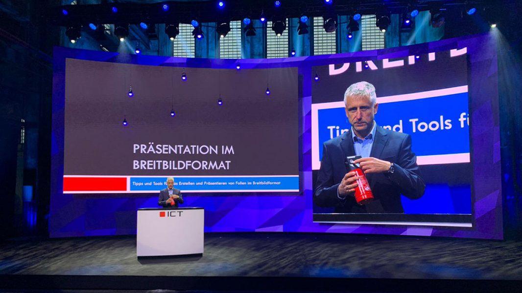 Produktpräsentation auf einer Bühne mit gebogener LED Rückwand