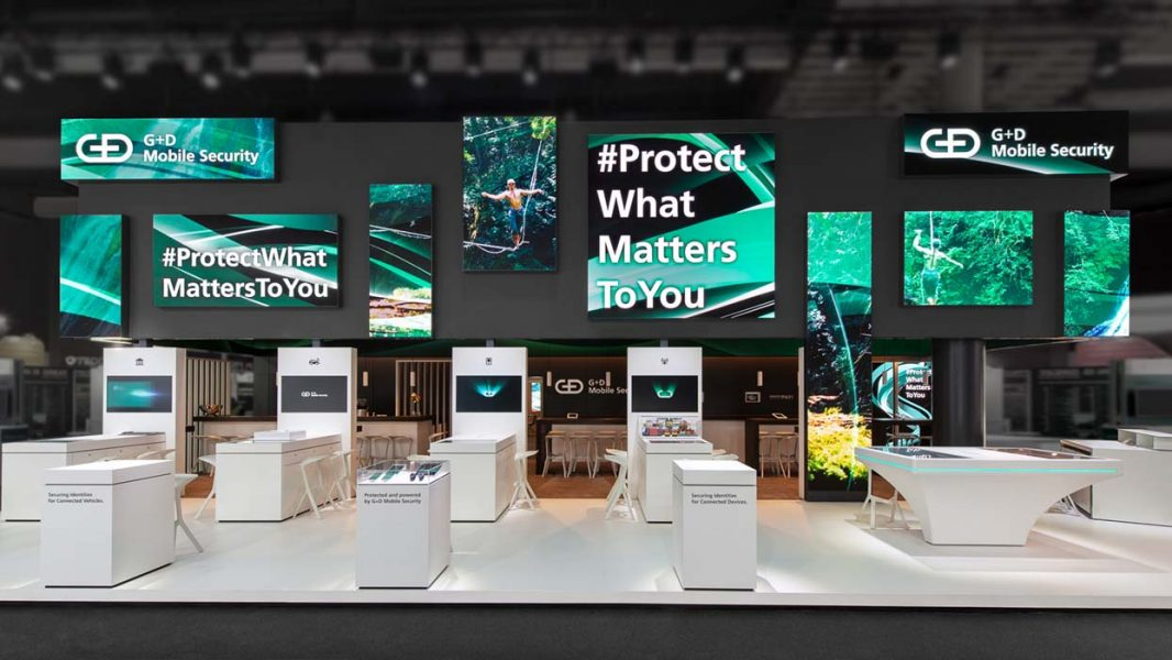 MWC-2019_ICT-AG_G+D-Mobile_Security_Messestand_Front